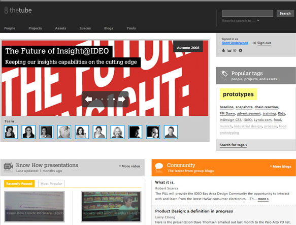 IDEO's intranet, The Tube, places an emphasis on people, not information or databases