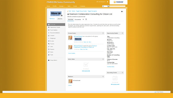 ITARICON's integration between the intranet, the SugarCRM system and SAP Jam collaboration platform has transformed the way business opportunities are dealt with. Screenshot appears courtesy of ITARICON.