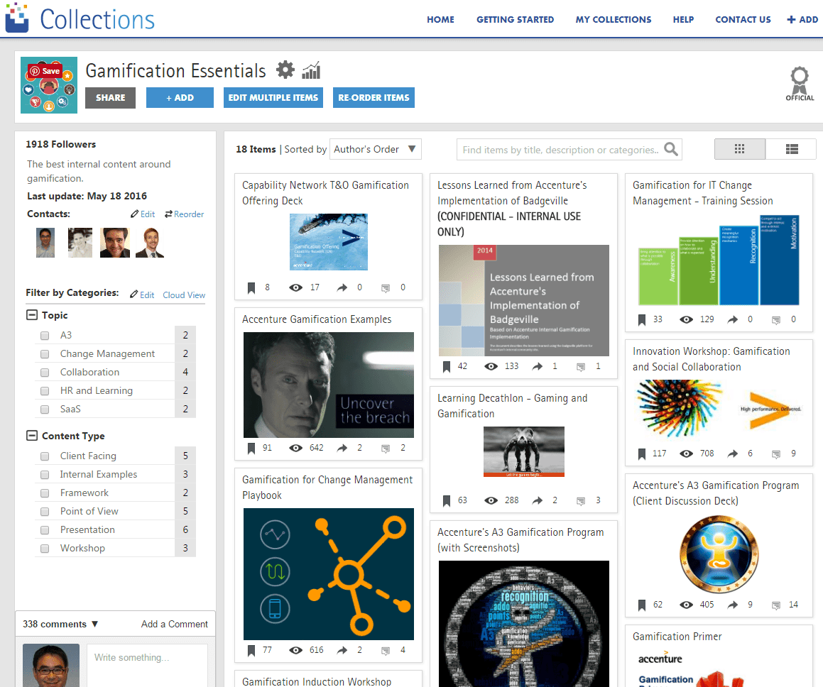 A screenshot of Accenture's Collections pinboard. Screenshot appears courtesy of Accenture.