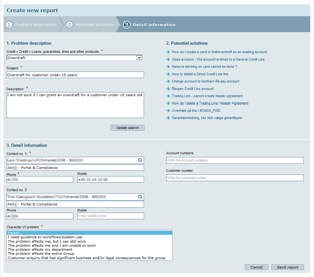Screenshot of an issue screen from Danske Bank's IT Help Universe solution.