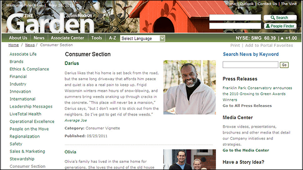 Figure 4: Customer insights and stories are brought directly into the intranet. This includes a feature box on the homepage (top) and a section dedicated to customer stories that communicate the needs of key customer groups (bottom). (Screenshots courtesy of The Scotts Miracle-Gro Company.)