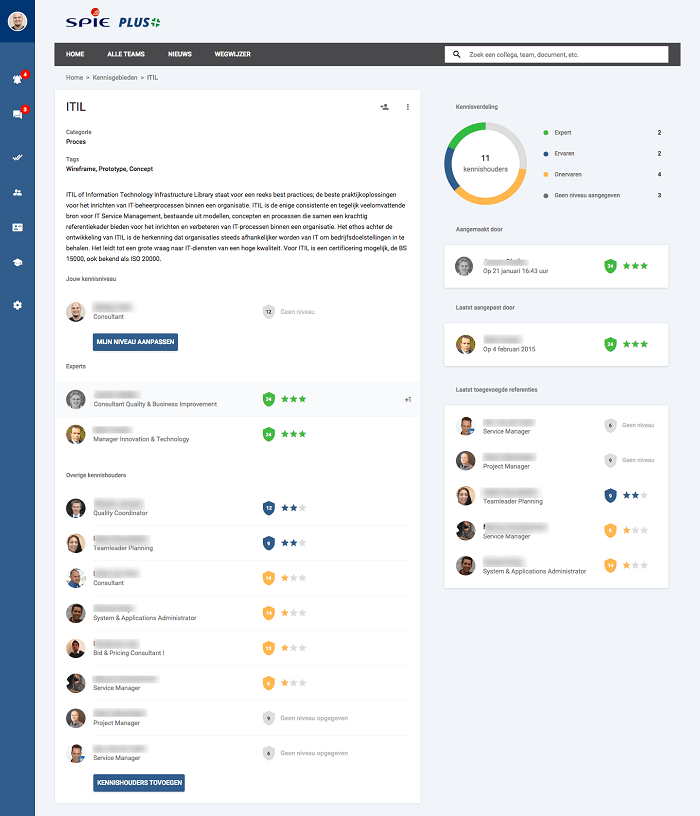 Above: A knowledge area page on the SPIE-ICS intranet which lists experts and a collective view of the knowledge in the company. Subject matter experts are derived through endorsements from colleagues rather than self-declarations of expertise. Screenshot appears courtesy of SPIE-ICS.