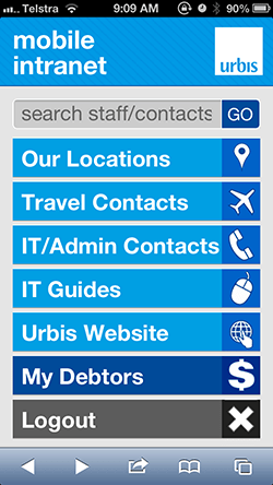 The new mobile homepage for Urbis staff.